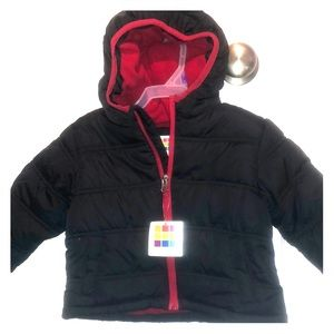 Black kids jacket lined with red fleece